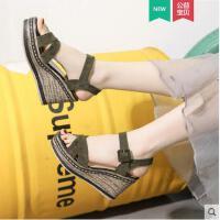 坡跟凉鞋女潮时尚百搭韩版网红同款厚底仙女高跟鞋一字带女鞋