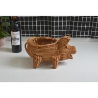 小鱼动物篮 家用果盘 塑料藤编水果篮 创意居家小篮子 桌面摆放篮