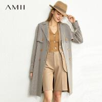 【券后预估价:360元】Amii极简英伦风千鸟格子风衣女2020春新款收腰绑带气质中长款外套