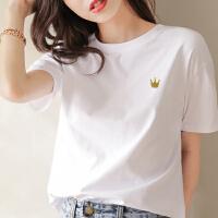 Lee Cooper 夏季新款女式T恤白色简约可爱风纯棉柔软圆领短袖T恤女