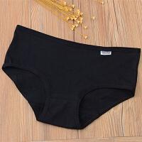 纯棉档内裤女全棉女士白色中腰大码透气都市低腰女生三角裤头 四条黑色 XL 108~130斤