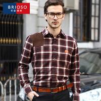 BRIOSO 男士格子衬衫 秋季特价格子衬衫 英伦休闲时尚绣花拼接磨毛长袖男式衬衣 ND25795