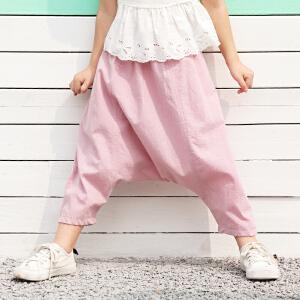【尾品汇 5折直降】amii女小童休闲裤2018夏季新款韩版时尚儿童吊裆裤宝宝长裤子潮