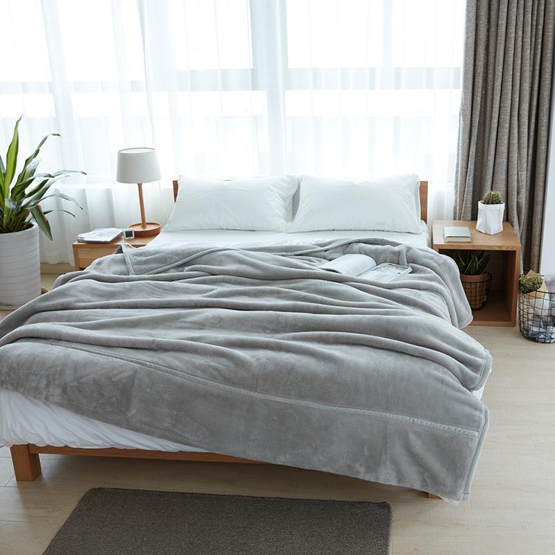 家纺日式纯色加厚双层法莱绒毛毯冬季保暖法兰绒单双人盖毯子珊瑚绒毯  180*200cm 大号