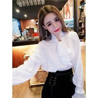 初春套装女韩版名媛气质蝴蝶结领宽松雪纺衬衣+铆钉半身裙两件套