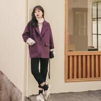 复古紫色短外套2019冬季新款女韩版宽松拼接加绒加厚洋气百搭西服