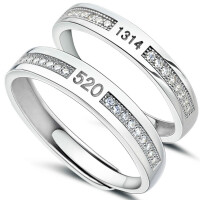 银戒指一对情侣韩对戒开口伸缩男女叹息桥饰品刻字礼物