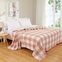 纯棉六层纱布毛巾被儿童毛巾毯全棉6层单双人空调被午睡毯 西瓜红 6层方格