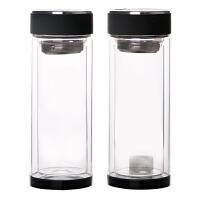 广告杯 双层玻璃杯定制印制logo 开业保温礼品纪念杯批售 水晶杯 q7盖