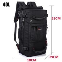 新款背包�p肩男日�n多功能大容量登山包40L60L�敉饴眯邪�女士�n版 普通版黑色