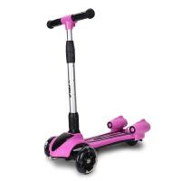 儿童滑板车喷雾三轮闪光音乐溜溜车折叠大号男女童3-6-12岁闪光轮 粉
