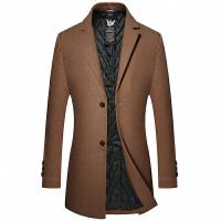 羊毛呢子大衣男中长款加厚毛呢风衣外套修身韩版帅气秋冬新款青年 180 XL(135-150斤)