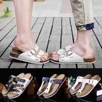 情侣软木拖鞋男夏季韩版潮流防滑沙滩鞋时尚夹脚凉鞋休闲人字拖女