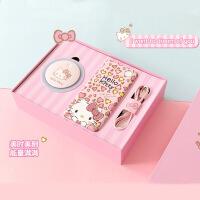 hellokitty七夕情人节礼物可爱移动电源美妆镜充电宝套装 粉红色