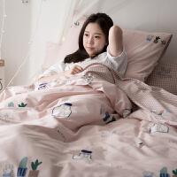 家纺四件套全棉韩式简约纯棉1.5米床单被套1.8m床上用品4件套 2.0m(6.6英尺)床 床单款
