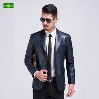 逸纯印品(EASZin)男士皮西服 秋季新款仿真水洗皮皮外套 韩版商务休闲皮衣