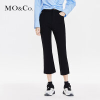 MOCO2019春哈伦黑色九分休闲裤微喇叭工装西裤女MAI1PAT050摩安珂