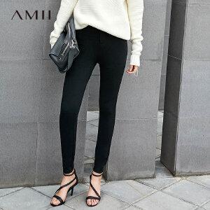【品牌团 1件7折/2件5折】Amii2017休闲显瘦弹力舒适九分打底长裤 11765502
