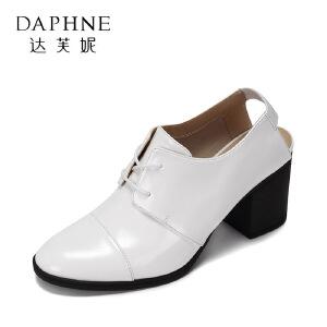 Daphne/达芙妮 罗马圆头系带休闲高跟女鞋