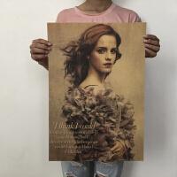 新品艾玛沃特森赫敏海报美女海报复古怀旧海报宿舍寝室装饰画墙贴 51*35.5cm