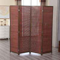办公室屏风折屏隔断折叠客厅移动屏风隔断墙实木中式帘子简约现代 咖啡色竹编屏风