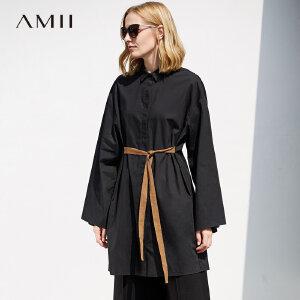 Amii极简港风chic白衬衫女polo衫长袖2018秋新款宽松时尚中长上衣