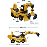 儿童电动滑行挖掘机挖土机可坐可骑大号学步钩机工程车男孩玩具车
