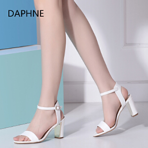 Daphne_达芙妮夏季新款百搭时尚露趾方跟粗高跟一字扣女凉鞋