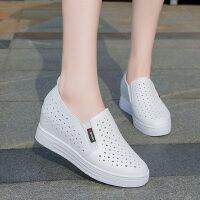 户外镂空透气小白鞋女内增高单鞋一脚蹬白色乐福鞋网鞋休闲鞋