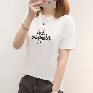 【每满200减100元】夏季新款短袖T恤女2018韩版新款圆领字母刺绣学生外穿体恤