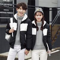 韩观青少年棉衣男连帽 短款情侣装韩版修身学生冬装外套潮流上衣