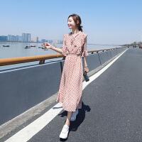 安妮纯红色波点雪纺连衣裙2020新款夏季中长款过膝小清新流行蓝色裙子女