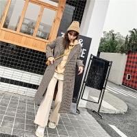 七格格冬季呢子外套女学生2019新款韩版过膝千鸟格大衣中长款上衣