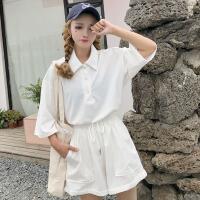 韩版运动休闲套装夏装女装宽松五分袖T恤短袖上衣+阔腿短裤两件套 均码