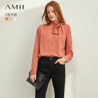 【到手价:109元】Amii极简法式优雅时髦雪纺衫2019秋新款绑带直筒长袖纯色钮扣衬衫