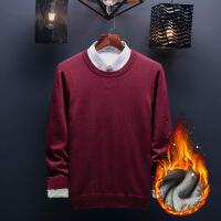 秋冬新款男士毛衣针织衫冬季加厚加绒保暖韩版圆领纯色线衣打底衫