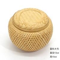 精编黄丝小竹篓竹茶叶罐纯手工普洱带盖零食罐小筐茶篓竹工艺品