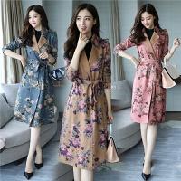 20180320195440959中国风外套女式风衣新款小碎花气质时尚中长款港味复古风衣潮