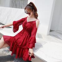 吊带裙子女夏2018新款冷淡风蕾丝雪纺连衣裙温柔裙超仙收腰一字肩 红色 暗红色