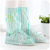 {夏季贱卖}加厚耐磨底透明雨鞋套女学生防水脚套下雨天防雨 高筒-绿光森林粗条纹 M