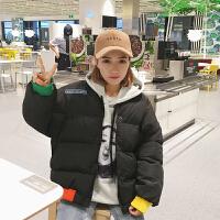 秋冬女装韩版宽松立领撞色破洞短款面包服加厚学生棉衣外套潮 均码