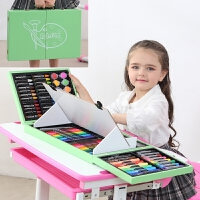 儿童水彩笔画画套装女孩幼儿园工具绘画笔礼盒小学生美术学习礼物礼品文具 木头画架128件绿色 配礼袋画本