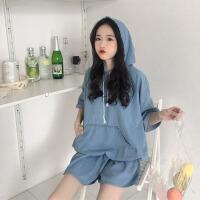 韩版时尚休闲套装夏装女装短袖连帽牛仔上衣外套+阔腿短裤两件套 图片色 均码