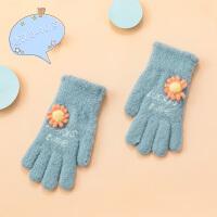 8-10岁儿童手套冬季加绒 男童分指保暖手套冬天女孩抓绒手套儿童