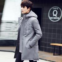 羽绒服男韩版修身白鸭绒冬中长款加厚外套潮 灰色 M