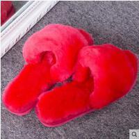轻盈舒适柔软休闲居家拖鞋女士羊毛拖鞋女平跟室内皮毛一体整皮