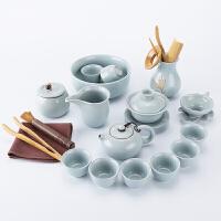整套汝窑功夫茶具套装 简约家用办公手工喝茶泡茶器 茶壶茶杯盖碗