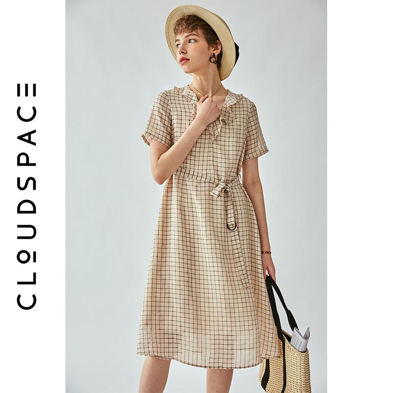 云上生活2019夏新款V领中长款裙子格子裙短袖连衣裙女L5685