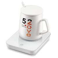 热牛奶神器暖暖杯55度加热器自动恒暖杯垫保温底座水杯子热牛奶神器 +杯子+勺子