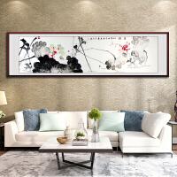 荷花国画手绘六尺�M幅水墨写意花鸟字画作品客厅装饰已装裱